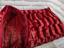 Плед покрывало Норка меховое Бордовый цвет Евро размер