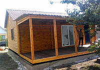Дачный домик 9м х 6м из блокхауса с террассой, фото 1