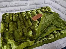 Плед покрывало Норка меховое   цвет Зеленый Евро размер