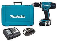 Аккумуляторный ударный шуруповерт Makita DHP453SYE + 2 акб 18 V 1.5 Ah + з/у DC18SD + кейс
