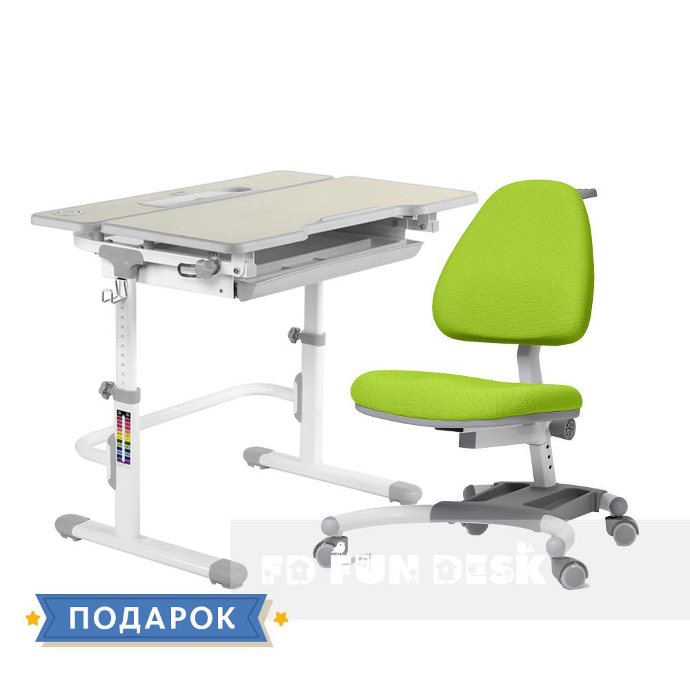 Комплект растущая парта для дома FunDesk Lavoro L Grey+подростковое кресло FunDesk Ottimo Green