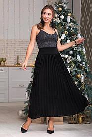Теплая зимняя черная юбка макси размер 44-48 плиссе юбка гофре шерсть вязаная длинная