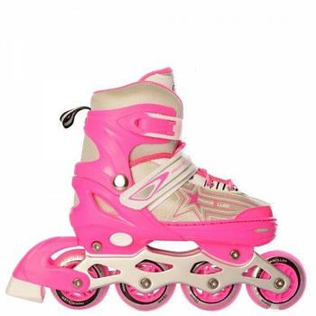 Раздвижные роликовые коньки для детей (ролики), в наборе шлем и защита A 4138-1-S-P, размер 31-34, розовый