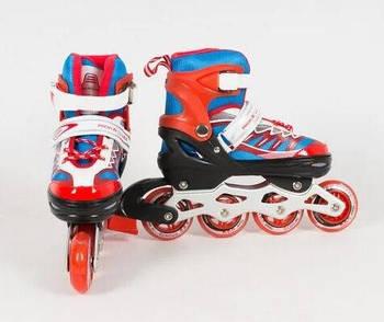 Раздвижные роликовые коньки (ролики) A 4122-M-R со светящимися передними колесами, размер 35-38, красные