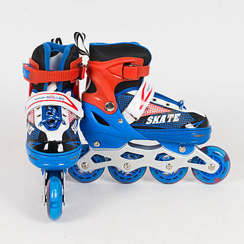 Раздвижные роликовые коньки (ролики) A 4123-M-BL со светящимися передними колесами, размер 35-38, синие
