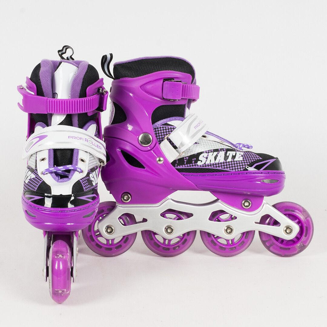 Раздвижные роликовые коньки (ролики) A 4123-M-V со светящимися передними колесами, размер 35-38, фиолетовые