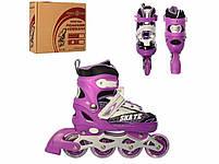Раздвижные роликовые коньки (ролики) A 4123-M-V со светящимися передними колесами, размер 35-38, фиолетовые, фото 2