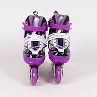 Раздвижные роликовые коньки (ролики) A 4123-M-V со светящимися передними колесами, размер 35-38, фиолетовые, фото 3