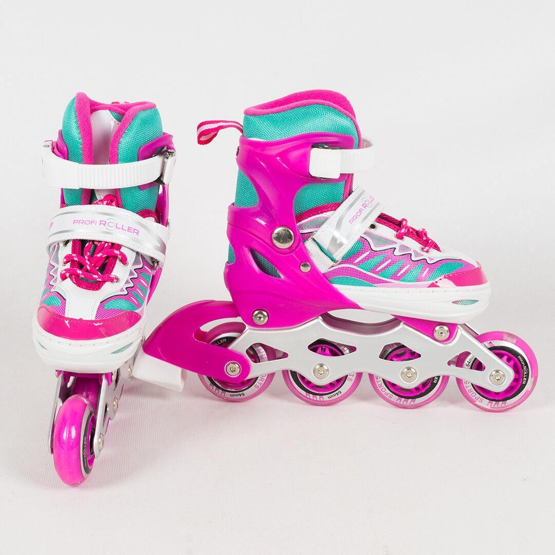 Детские раздвижные ролики A 4122-S-P со светящимися передними колесами, размер 31-34, розовые