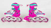 Детские раздвижные ролики A 4122-S-P со светящимися передними колесами, размер 31-34, розовые, фото 3