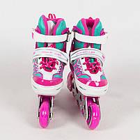 Детские раздвижные ролики A 4122-S-P со светящимися передними колесами, размер 31-34, розовые, фото 4