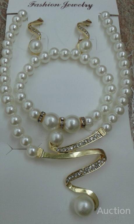 Набор Fashion Jewelry Abaccio P255  Жемчуг бусы+браслет+серьги. Распродажа!
