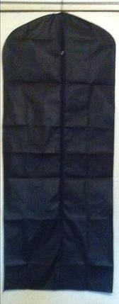 Чехол для хранения и упаковки одежды на молнии флизелиновый черного цвета. Размер 60 см*140 см., фото 2