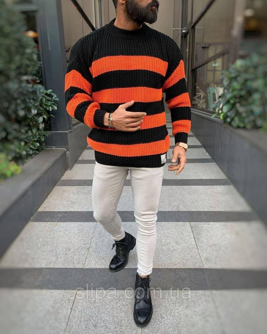 Мужской свитер оверсайз чёрный в оранжевую полоску ( Турция )