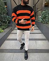 Мужской свитер оверсайз чёрный в оранжевую полоску ( Турция ), фото 1