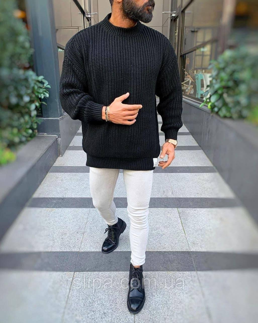 Мужской свитер оверсайз чёрный ( Турция )