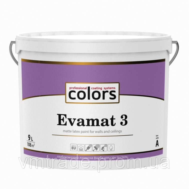 Colors Evamat 3 латексная краска для потолков с замедленным временем высыхания, 9л, C