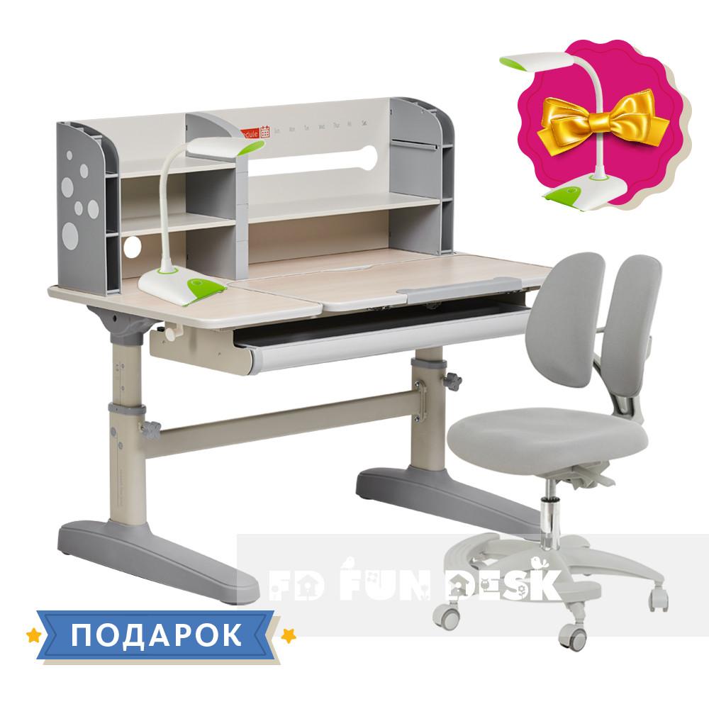 Комплект школьника 👨🏫 парта-трансформер Fundesk Amico Grey + подростковое кресло FunDesk Primo Grey