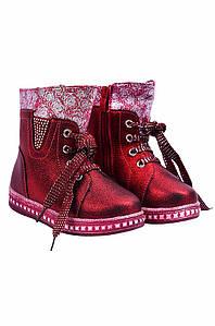 Ботинки детские девочка на меху бордовые YTOP 127482P