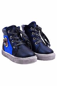 Ботинки детские девочка на меху синие YTOP 127486P