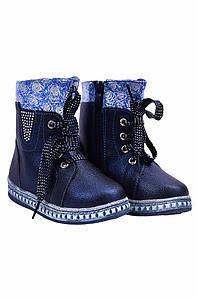 Ботинки детские девочка на меху темно-синие YTOP 127483P