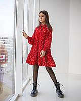 Стильное красное платье в горошек для девочек подростков 134-164 р