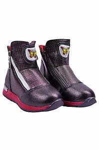 Ботинки детские девочка на меху фиолетовые YTOP 127496P