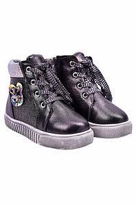 Ботинки детские девочка на меху черные YTOP 127485P