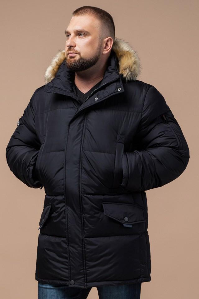 Мужская черная куртка большого размера на зиму