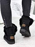 Угги женские натуральная замша черные 7228-28, фото 6
