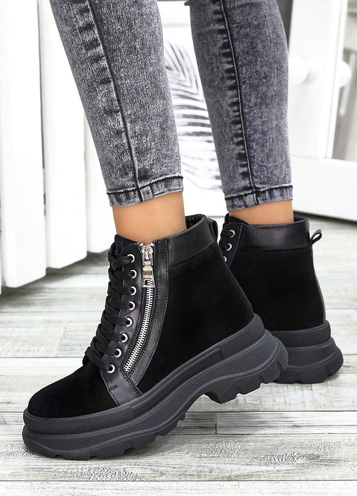 Ботинки черная замша зимние