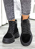 Ботинки черная замша зимние, фото 4