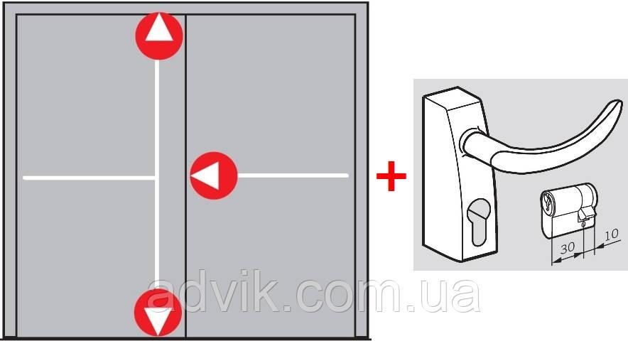 Антипаника Dorma PHA 2000 для 2-створчатой штульповой двери с 3-точечным запиранием с внешней ручкой