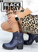 Ботинки женские синяя кожа демисезонные на толстом каблуке