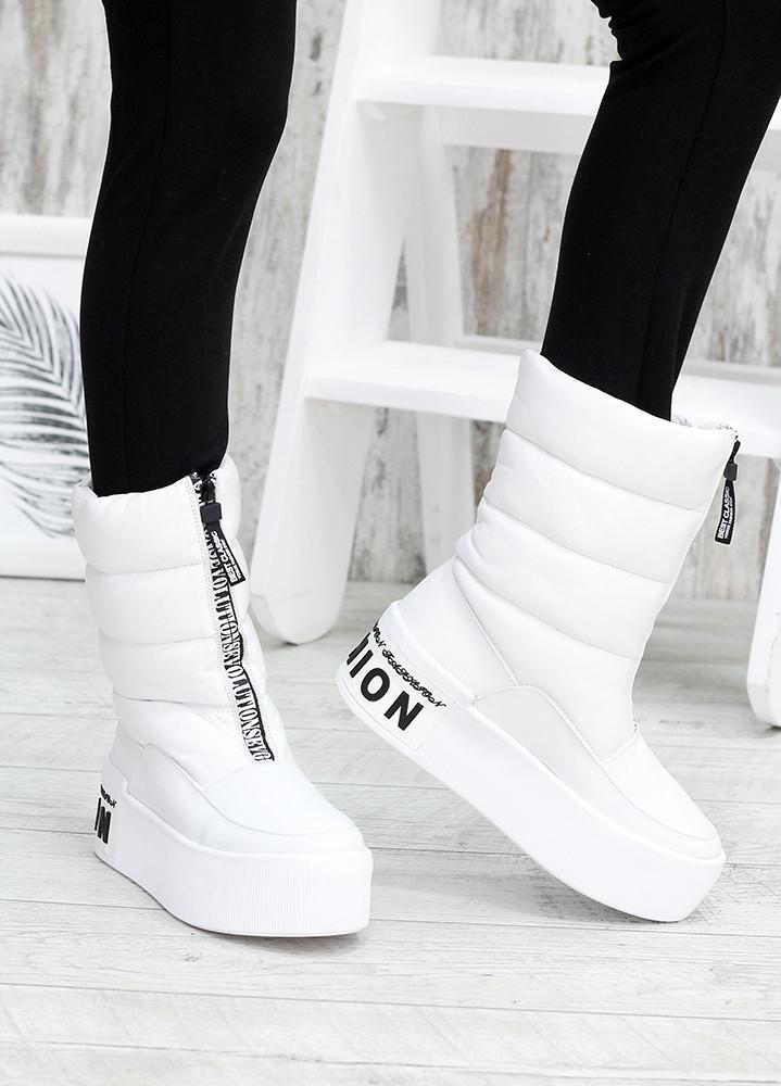 Зимові білі жіночі черевики дутики шкіра 7583-28