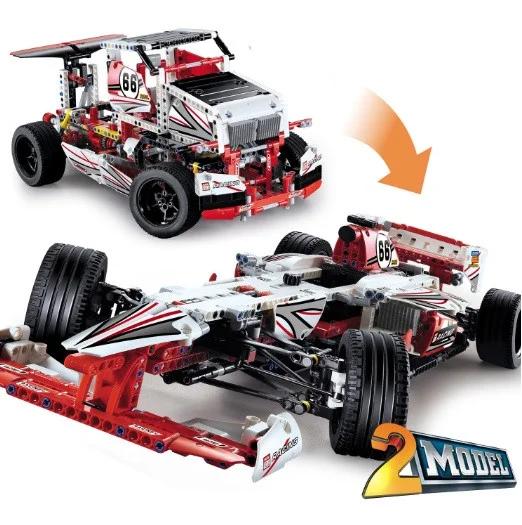 Конструктор JiSi bricks Technic 3366 2 в 1 Гоночный автомобиль Formula-1 и грузовик 1141 деталь