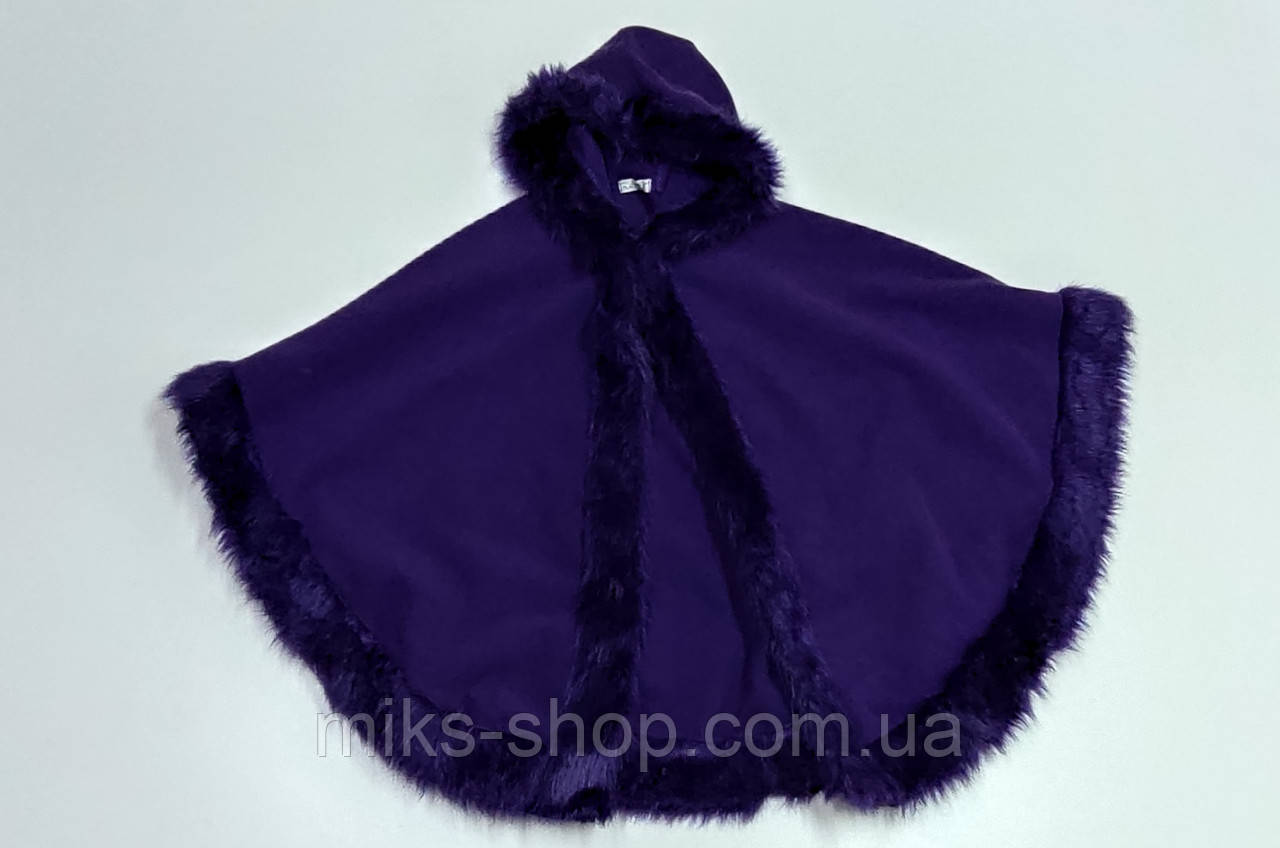 Розкішне пальто - пончо Італія під кашемір із вшитим капюшоном та хутром ( Б-213)