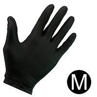 Перчатки нитриловые неопудренные черные 100 шт, M