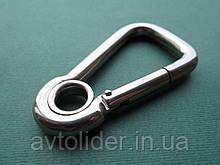 Нержавеющий карабин ассиметричный с кольцом, А4 (AISI 316)