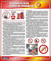 Стенд. Пожежна безпека в пунктах прийома їжі. 0,5х0,6. Пластик