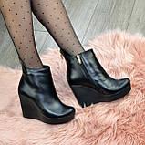 Черевики жіночі демісезонні на платформі, натуральна шкіра чорного кольору, фото 6