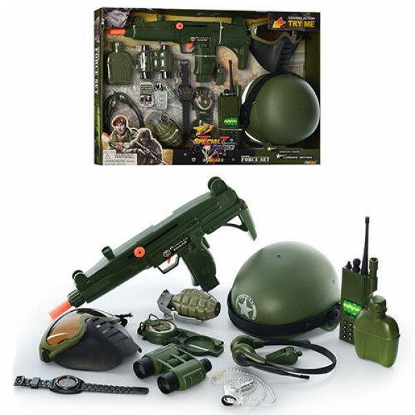 Детский игровой набор военного 33570 с автоматом, каской, гранатой, рацией, маской, биноклем
