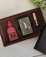Подарочный Набор Мужчине Скорпион 3в1 зажигалка/мундштук/бензин, фото 1