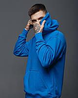 Кофта мужская ОВЕРСАЙЗ весенняя осенняя голубая | Худи мужское с капюшоном трехнитка ЛЮКС качества, фото 1