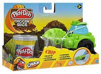 Пластилин Play-Doh (Плей до) Игровой набор с массой для лепки Машинки для строительства дорог Зеленая