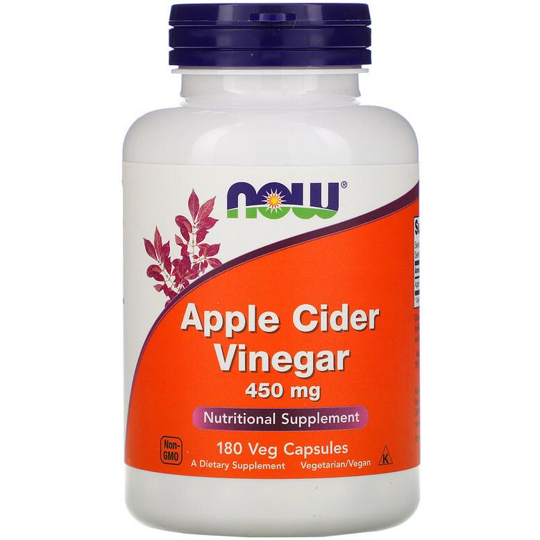 """Яблочный уксус NOW Foods """"Apple Cider Vinegar"""" для снижения веса, 450 мг (180 капсул)"""