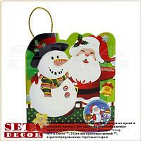 """Новогодняя поздравительная мини-открытка """"Санта и снеговик"""""""