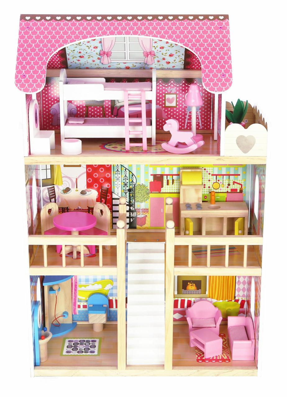 Красивый деревянный дом для  кукол  AVKO Вилла Валетта LED подсветка