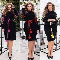 Нарядное вязаное платье-вышиванка «Любава», 44-54