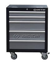 Тумба инструментальная серая на колесах (5 полок) под верстак KING TONY 87D11-12A-KG
